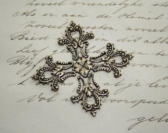 Large gothic filigree cross - brass filigree