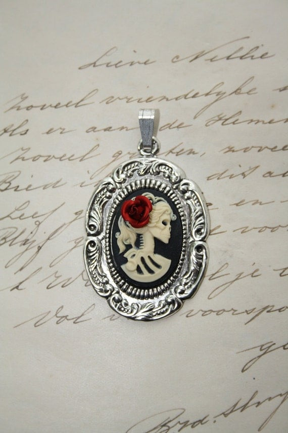 Skeleton cameo pendant - gothic victorian lady - ROSE IS CUSTOMABLE