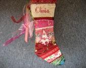 Custom handmade embroidery christmas stocking
