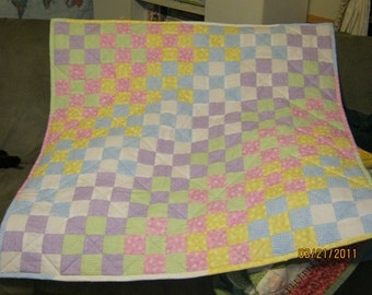 Pastel Cascade Baby or Lap Quilt Pattern - Beginner - Quarter-Inch Seams
