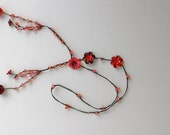 flower lariat leather necklace - coral combination