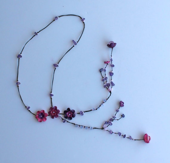 flower lariat leather necklace - purple combination