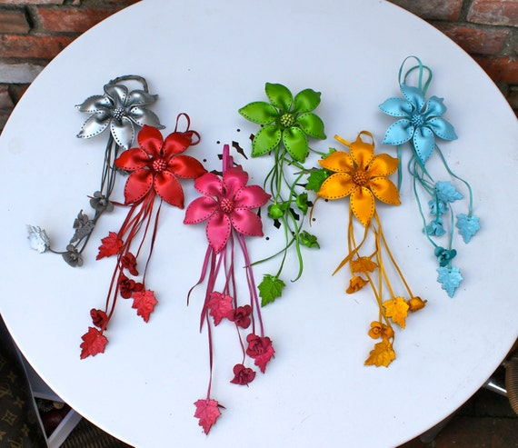 Penny's Large Leather Lily Flower Bag / Purse Charm - assorted colors