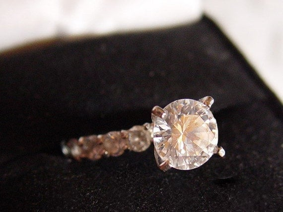 Bridal Set Large Diamond CZ Surrounded by CZ and Matching Eternity Wedding  Band SALE Orig. 99.00