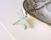 Dragonfly necklace. Mint pastel colours. Shabby chic jewelry painted by hand. Nature jewelry