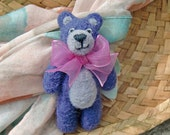 SALE Needle felted purple bear brooch with a pink ribbon