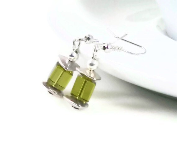 Earrings Green Glass Cubes Drop Dangle