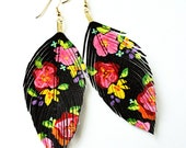 Floral Fashionista - BLACK - Hand Painted  Faux Leather Feather Earrings - Free Shipping