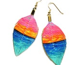 Sunset Beach - Itty Bitty 2.5 inch - Faux Leather Feather Earrings