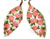 Floral Fashionista -  WHITE - Hand Painted  Faux Leather Feather Earrings 14k Gold - Free Shipping
