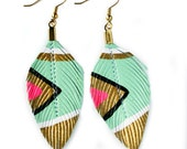 SALE- Neon Aztec  - Seafoam - 3 inch - Hand Painted Faux Leather Feather Earrings