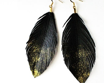 Gold Dust - Faux Leather Feather Earrings - Surgical Steel Available
