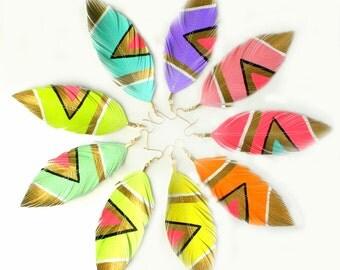 Neon Aztec Earrings, Handpainted, Faux Leather,  Feather Earrings, Painted Feathers, Free Shipping