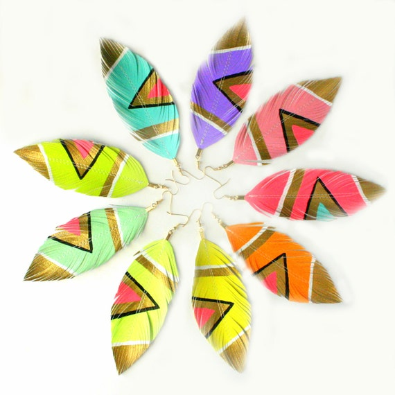 Neon Aztec Earrings, Handpainted, Faux Leather,  Feather Earrings, Painted Feathers, Free Shipping