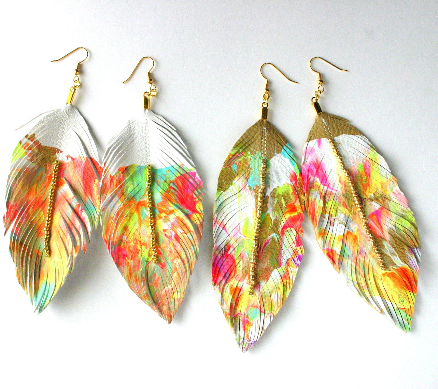 painters palette faux leather feather earrings or