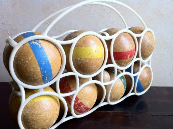 French 'boules'. Set of vintage wooden French 'pétanque' boules