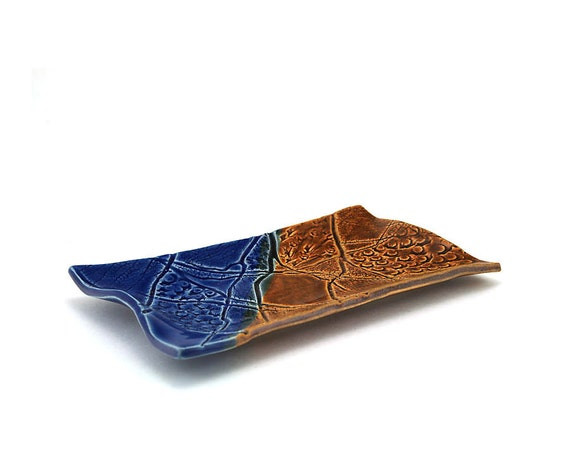Brown and Blue Ceramic Plate:  Shell and Coral Textured Serving Plate