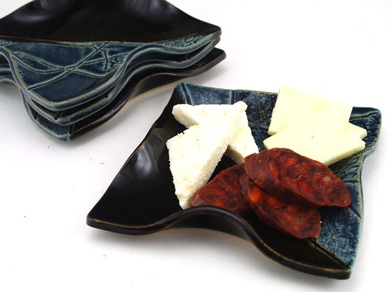 Tapas Plates: Black and Blue Ceramic Dish Set, Pottery Anniversary Gift, Unique Handmade Pottery Gifts for Couples by MiriHardyPottery