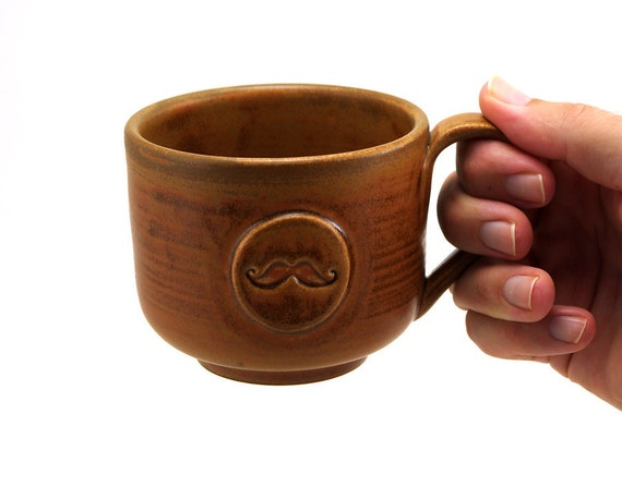 Mustache Mug: Brown Ceramic Mug, Cup, Unique Pottery Gift for Men, Fathers Day Gift for Guys by MiriHardyPottery