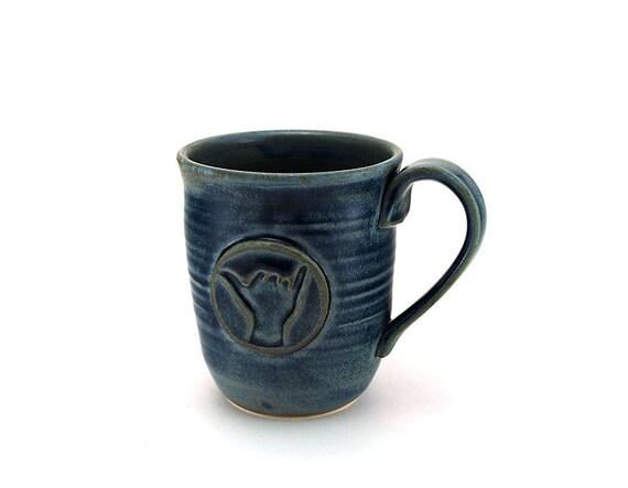 Blue Mug with Shaka aka Hang Loose: Gift for Him, Surfer Gift by MiriHardyPottery