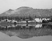 Lake Estes, Estes Park, Snowy Awakening, Black and White 5x7