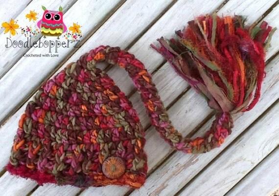 Pixie Elf Hat,Boy, Long Tail Elf, Pompom, Merino Wool, Green,Brown, Orange, Red, Oak Button,Newborn Photo Prop, Ready to ship