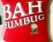 Decorative pillow cover - Upcycled Bah Humbug Tshirt, green, red - 16 x16 inch pillow case