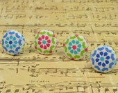 Handmade Fabric Flatback Buttons- Patchwork, Colorful, Floral Supplies, Earrings Accessories, Fresh Pattern, Gorgeous- 22mm, 28mm- DW0017C4
