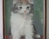 Vintage Paint by Number Cat Portrait - Framed