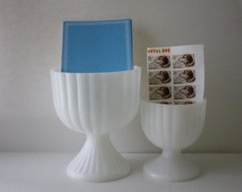 Set of 2 Vintage Milk Glass Pedestals