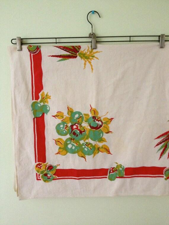 SALE - Vintage Fall/Harvest/Garden Tablecloth