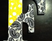 """8"""" wood letter 'F' - fabric topped, with yellow, and white flowers - black and white paisley - Initial - Words"""