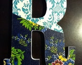"""8"""" wood letter 'R' - fabric topped, with green, navy, yellow, blue, white, orange, teal, red - filigree- flowers - Initial- Words"""