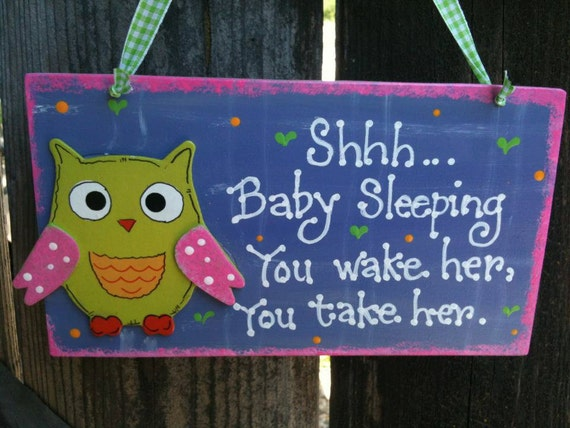 Owl Baby Sleeping sign Nursery room decoration handmade wooden plaque bird