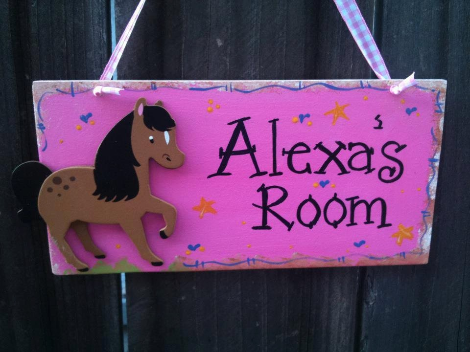 Horse kids door sign pink room decor western boot rider cute for Horse crafts for kids