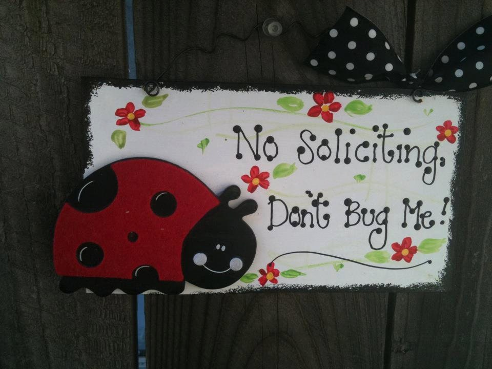 Ladybug No Soliciting Sign Country Wood Crafts Decor Home