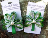 St. Patrick's Day Shamrock Hair Clip- Ribbon Shamrock Hair Clip or Barrette with Pearl Accent
