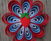 Made to Match Gymboree- Burst of Spring Hair Clip/Barrette with Strawberry Clay Center- Red, Blue and White Flower- Strawberry Party