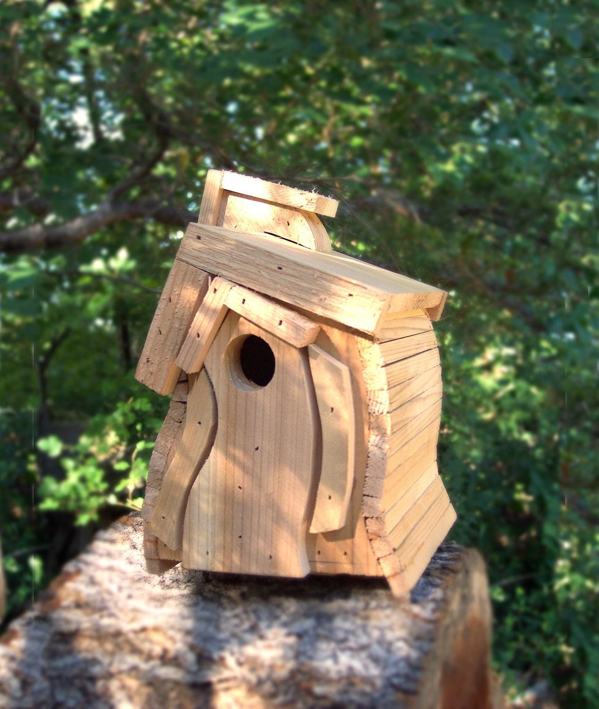 Cedar bird house wooden wren natural by