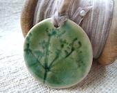 Cow parsley pendant olive green mushroom vintage velvet ribbon Queen Anne's lace Gift for her