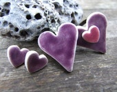 SALE Purple heart pendant, ceramic heart with silver plated chain