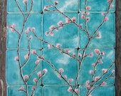 12 handmade bespoke ceramic tiles, pink cherry blossoms turquoise, kitchen bathroom Sakura MADE TO ORDER