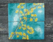 4 Ceramic tiles yellow forsythia and cherry blossoms turquoise crackle glaze kitchen bathroom restroom Spring MADE TO ORDER