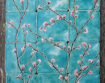 12 handmade bespoke ceramic tiles, pink cherry blossoms turquoise, kitchen bathroom Sakura MADE TO ORDER