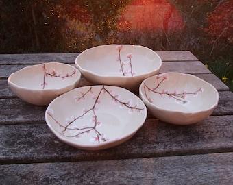 Ceramic bowl, cherry blossom, handmade bowl, serving bowl, breakfast bowl, MADE TO  ORDER