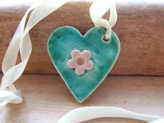 Romantic Heart pendant turquoise green crackle glaze love words pink flower vintage cream satin ribbon teal Emerald