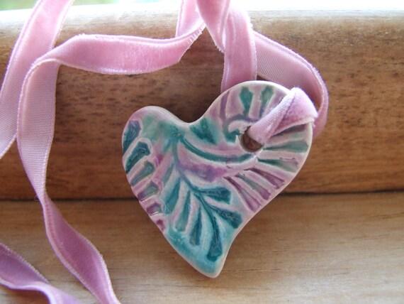 Lilac aqua pendant, vintage velvet ribbon, royal amethyst glaze, purple turquoise