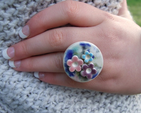 Flower power ring with Purple, Pink and Turquoise glazed flowers on water colour crackle glaze ring, Summer