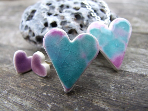 SALE Ceramic heart ring turquoise purple crackle glaze