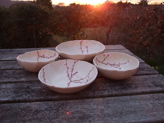 Ceramic bowl Cherry blossom creamy painted with pink blossom serving bowl READY TO SHIP
